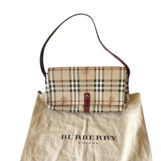 Burberry beige canvas check shoulder bag