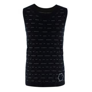 Chanel Black Camellia Embroidered Sleeveless Knit Vest
