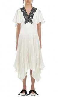 Self Portrait Ivory satin handkerchief midi dress