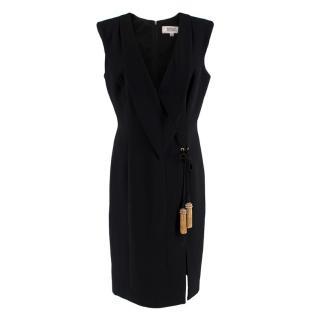 Badgley Mischka Black Fitted Sleeveless Tassel Dress