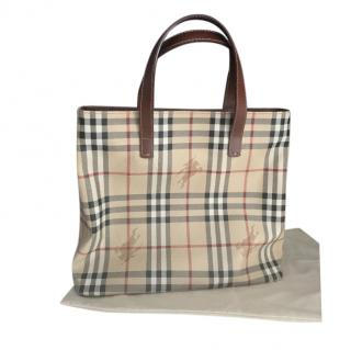Burberry vintage beige check tote bag