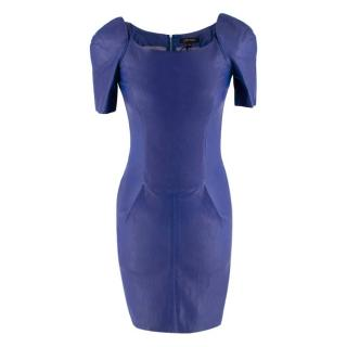 Jitrois Electric Blue Leather Fitted Dress