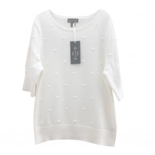 Nanette Lapore ivory short sleeve crew neck sweater