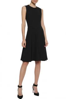 Iris & Ink Ragna fluted black washed crepe dress