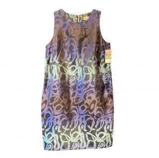 Michael Kors blue sleeveless patterned dress