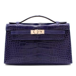Hermes Mini Kelly 22 Pochette Bag in Blue Electric alligator PHW