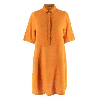 Loro Piana Flax Orange Button-Down Shirt Dress