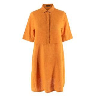 Loro Piana Flax Orange Button-Down Shirt Dress