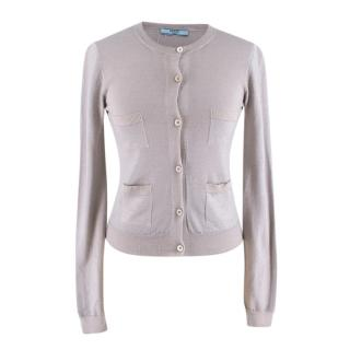 Prada Grey Wool & Silk Blend Cardigan