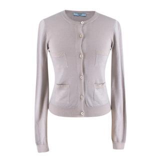 Prada Grey Wool & Silk Blend Cardigan