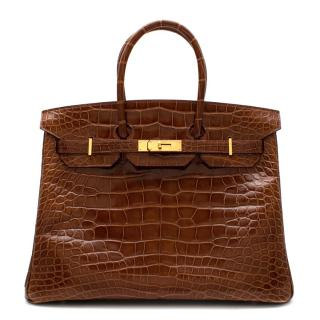 Herm�s Birkin 35 in Miel Lisse Alligator Mississippiensis GHW
