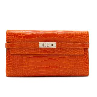 Herm�s Kelly Long Wallet in Feu Lisse Alligator Mississippiensis PHW