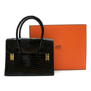 Hermes Vintage Drag Bag in Lisse Niloticus Crocodile GHW