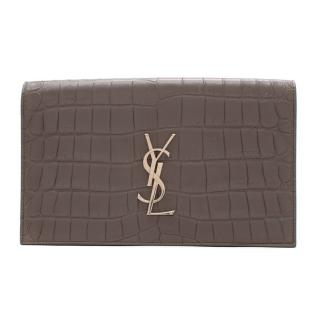 Saint Laurent Monogram Croc Embossed Grey Clutch