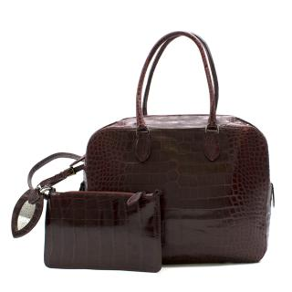 Alaia Maroon Crocodile Structured Business Bag