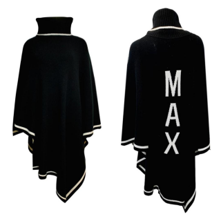 Max & Moi Logo wool/cashmere poncho