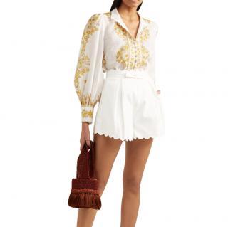 Zimmermann white cotton scallop edge high waisted shorts