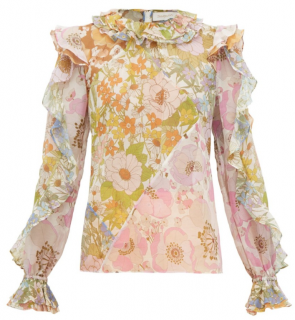 Zimmermann Silk Blend Ruffled Floral Blouse
