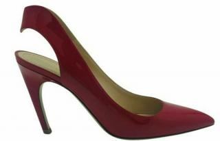 Christian Dior red pointed patent leather slingback heels