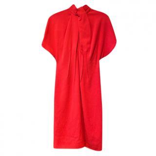 Salvatore Ferragamo red wool short sleeve dress