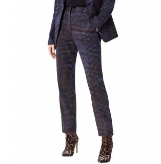 Diane von Furstenberg blue metallic jacquard straight pants