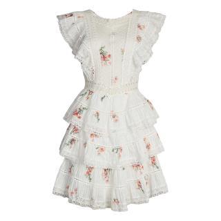 Zimmermann floral white cotton ruffle mini dress