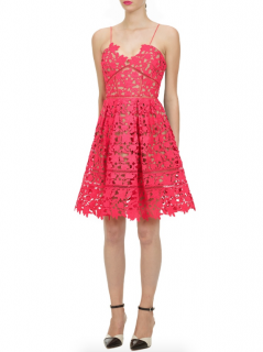 Self Portrait Hot Pink Mini Azaelea Dress
