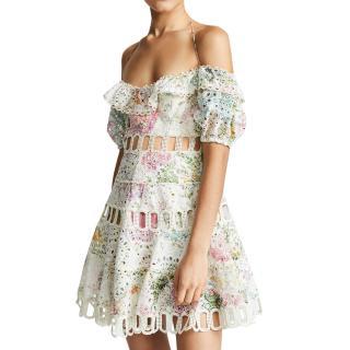 Zimmermann floral cut-out detail puff sleeve mini dress