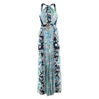 Gucci Blue Silk Floral Halter Neck Maxi Dress