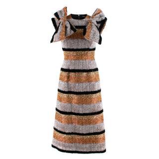 Dolce & Gabbana Metallic Textured Striped Dress