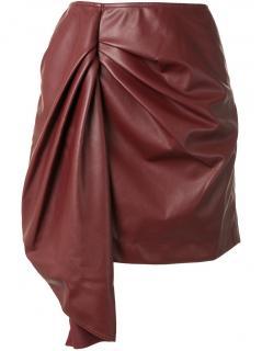 Self Portrait Burgundy Faux Leather Mini Skirt