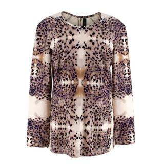 Roland Mouret Beige Patterned Long-Sleeve Top