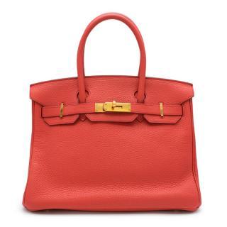 Hermes Clemence Leather Rouge Pivoine Birkin 30 GHW - T 2015