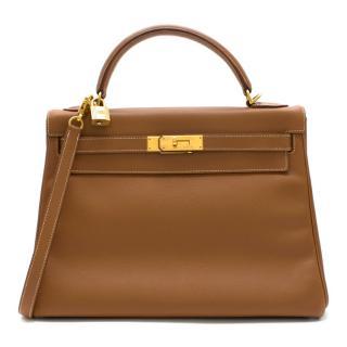 Hermes Epsom Leather Gold Kelly Retourne 32 GHW - D 2000