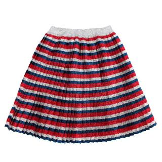 Gucci Kids Metallic Striped Pleated Skater Skirt