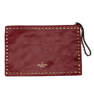 Valentino Dark Red Leather Rockstud Pouch