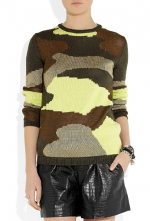 Alexander McQueen Green Camouflage Knitted Jumper