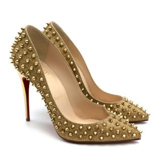 Christian Louboutin Gold Glitter Pigalle Studded Pumps