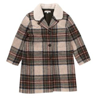 Caramel Kids Plaid Wool Coat