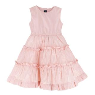 Oscar De La Renta Kids Pink Silk Layered Skater Dress
