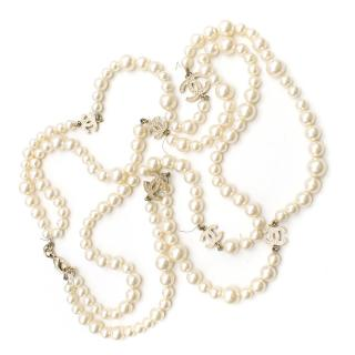 Chanel Faux Pearl Double Strand CC Necklace