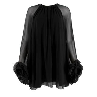 Saint Laurent Black Sheer Chiffon Blouse