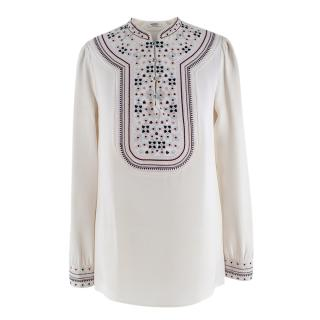 Vilshenko Embroidered White Silk Blouse