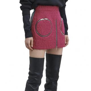 Alexander Wang boucle & leather hybrid fuchsia mini skirt