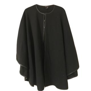 St. John black wool leather trim cape