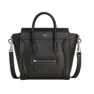 Celine Nano Luggage black drummed calfskin leather bag -Current season