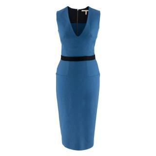 Victoria Beckham Blue Wool Fitted Sleeveless Dress