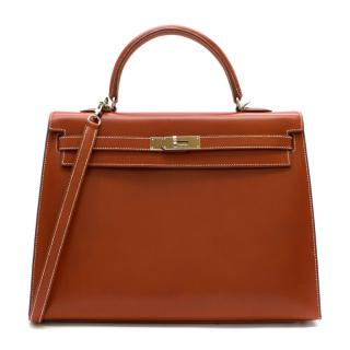 Hermes Box Leather Brique Kelly Sellier 35 PHW - [N] 2010