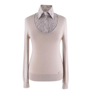 Chanel Taupe Collared Cashmere-Blend Jumper