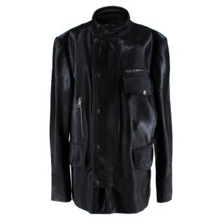 Gucci Black Leather & Pony Hair Biker Jacket
